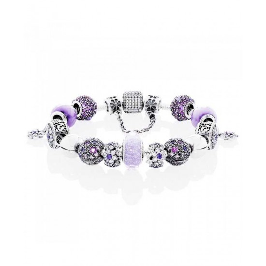 Pandora Bracelet-Silver Purple Droplets Complete Jewelry