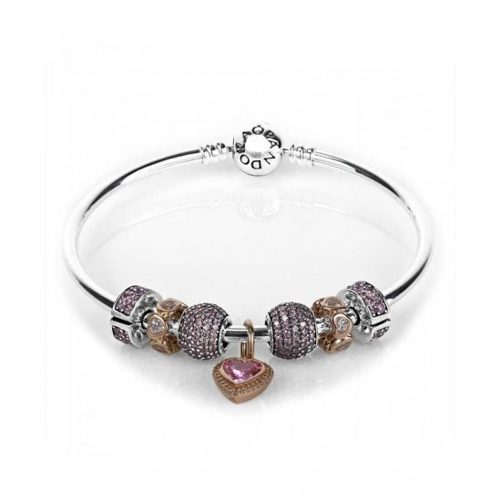 Pandora Bracelet-Rose Pink Sparkling Love Complete Bangle Jewelry