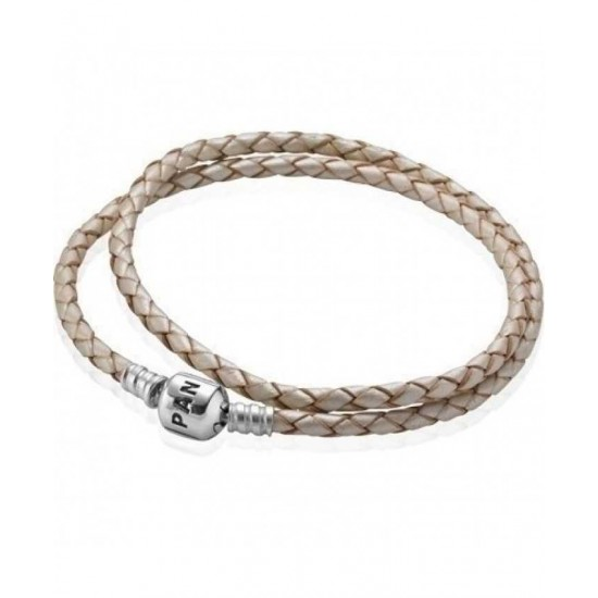 Pandora Bracelet-Silver And Double White Braided Leather Jewelry