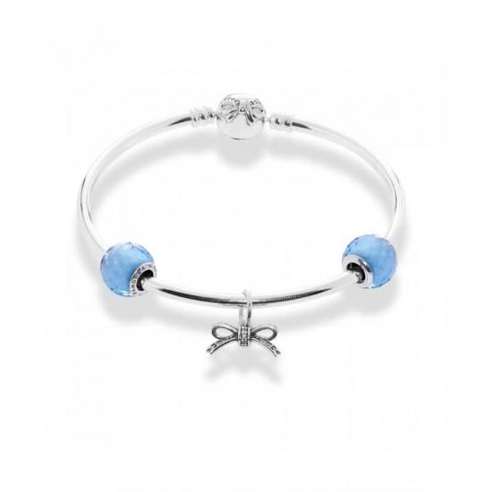 Pandora Bracelet-Sky Blue Bow Complete Bangle Jewelry