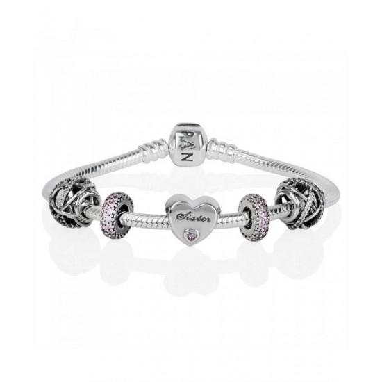 Pandora Bracelet-Sparkling Sisters Love Complete Jewelry