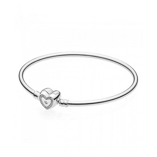 Pandora Bangle-Silver Wishful Heart Limited Edition Moments Jewelry