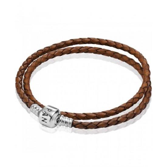 Pandora Bracelet-Silver Brown Double Braided Leather Jewelry