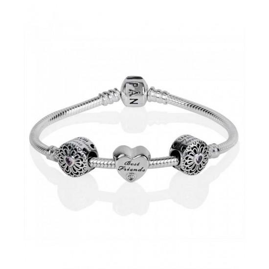 Pandora Bracelet-Silver Sparkling Friendship Complete Jewelry
