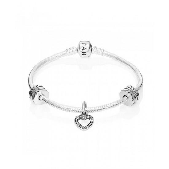 Pandora Bracelet-Sparkling Heart Complete Jewelry