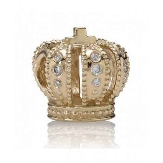 Pandora Charm-14ct Gold Diamond Crown Bead Jewelry