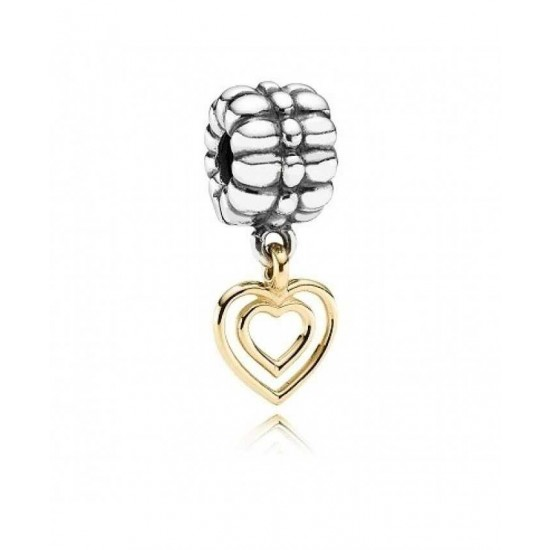 Pandora Charm-Silver 14ct Gold Dangling Heart Jewelry