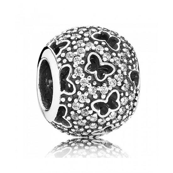 Pandora Charm-Silver Cubic Zirconia Cut Out Butterflies Jewelry