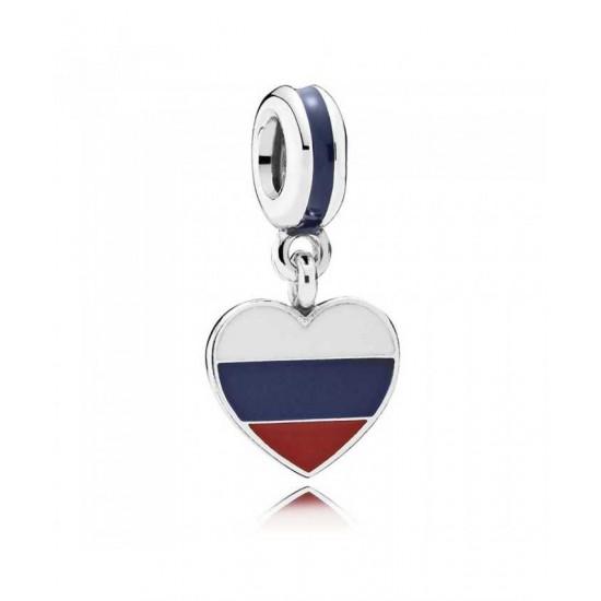 Pandora Charm-Silver Enamel Heart Flag Russia Dropper Jewelry