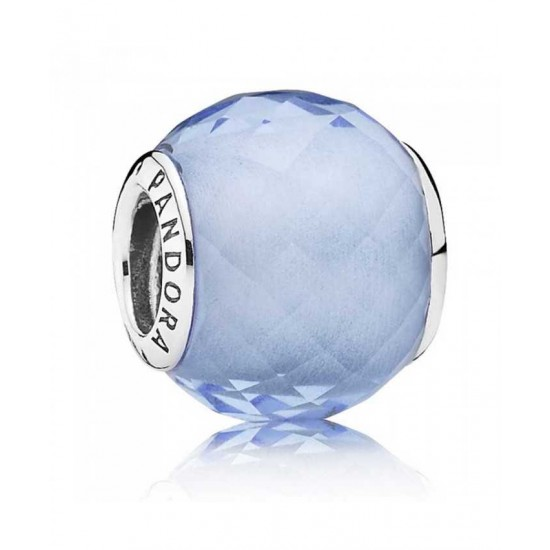 Pandora Charm-Silver Faceted Synthetic Blue Quartz Outlet Jewelry