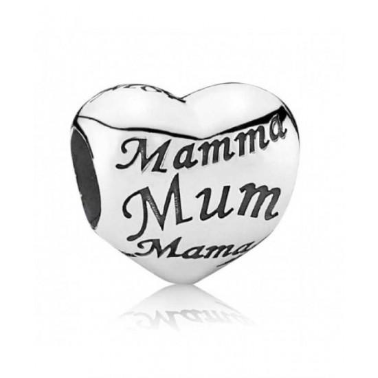 Pandora Charm-Silver Heart Mum Jewelry
