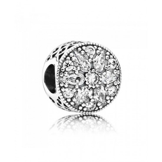 Pandora Charm-Silver Radiant Bloom Cubic Zirconia Jewelry