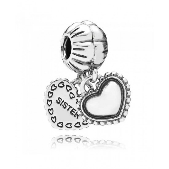 Pandora Charm-Silver Sister Double Heart Dropper Jewelry