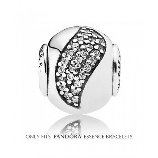 Pandora Charm-Essence Silver Cz Wave Happiness Bead Jewelry