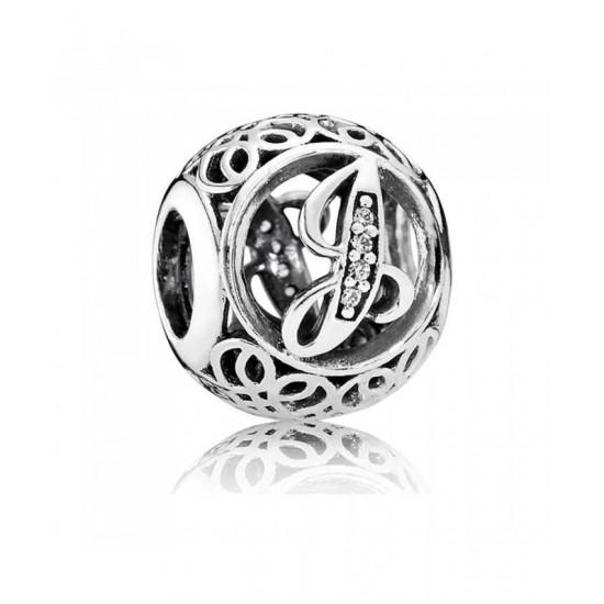 Pandora Charm-Silver Cubic Zirconia Vintage J Swirl Jewelry