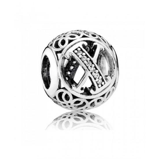 Pandora Charm-Silver Cubic Zirconia Vintage X Swirl Jewelry