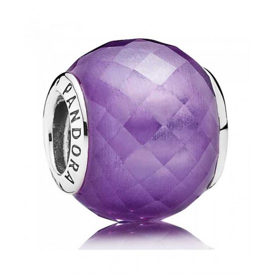Pandora Charm-Silver Faceted Purple Cubic Zirconia Jewelry