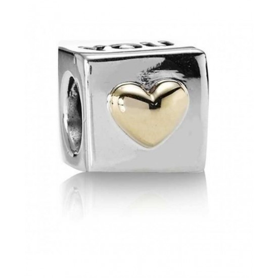 Pandora Charm-14ct Gold And Silver I Love You Jewelry