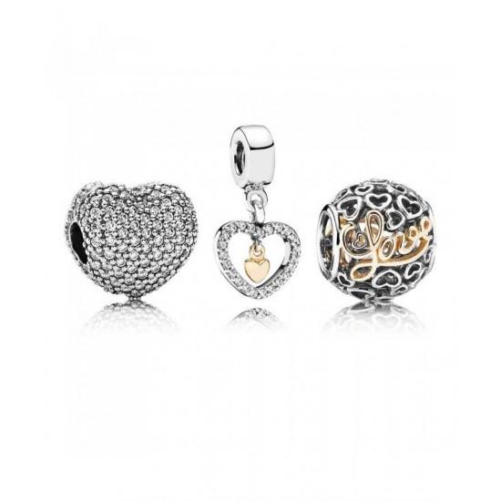 Pandora Charm-Delicate Hearts Jewelry