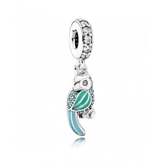 Pandora Charm-Oceanic Tropical Parrot Sterling Silver Enamel Drop Jewelry