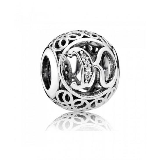 Pandora Charm-Silver Cubic Zirconia Vintage K Swirl Jewelry