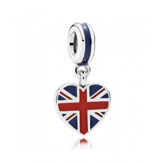 Pandora Charm-Silver Enamel Great Britain Heart Dropper Jewelry