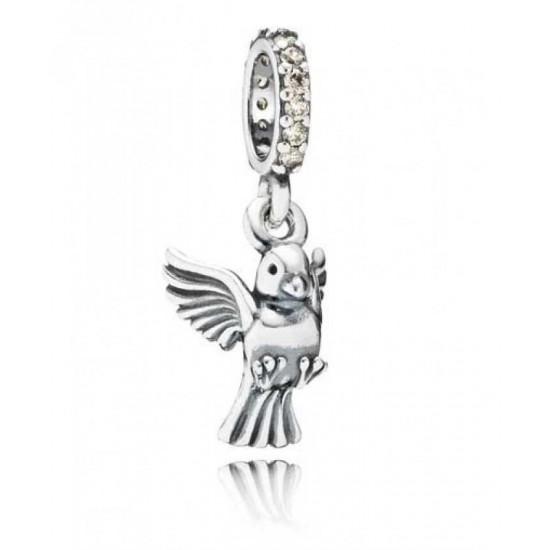 Pandora Charm-Silver Gold Cubic Zirconia Dove Dropper Jewelry