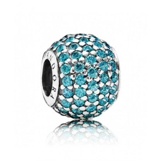 Pandora Charm-Silver Teal Pave Ball Jewelry