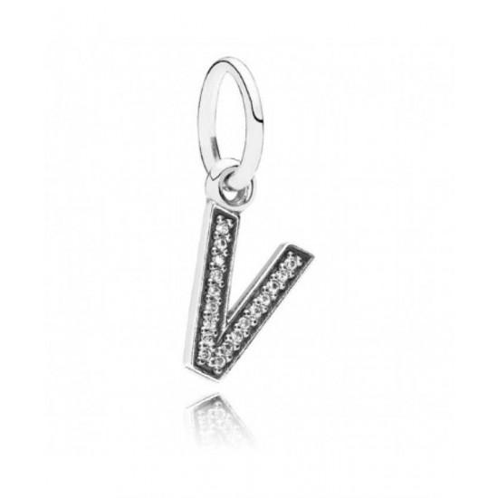 Pandora Charm-Sparkling Alphabet V Pendant Jewelry