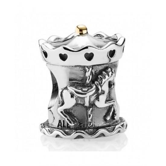 Pandora Charm-Silver 14ct Gold Carousel Bead Jewelry