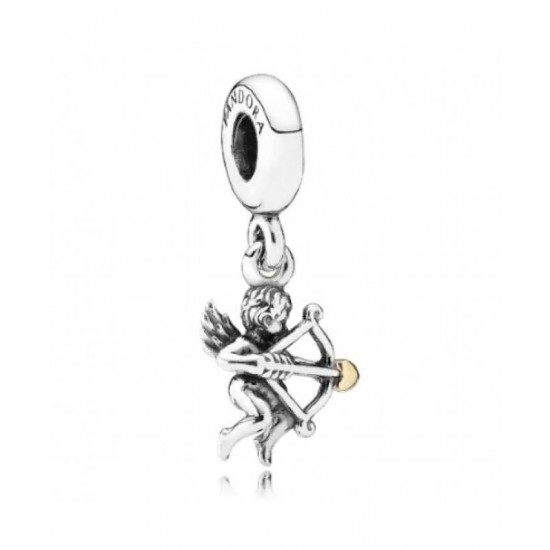 Pandora Charm-Silver And 14ct Gold Cupid Dropper Jewelry