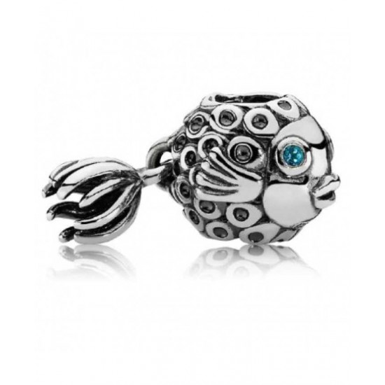Pandora Charm-Silver Blue Treated Topaz Angel Fish Jewelry