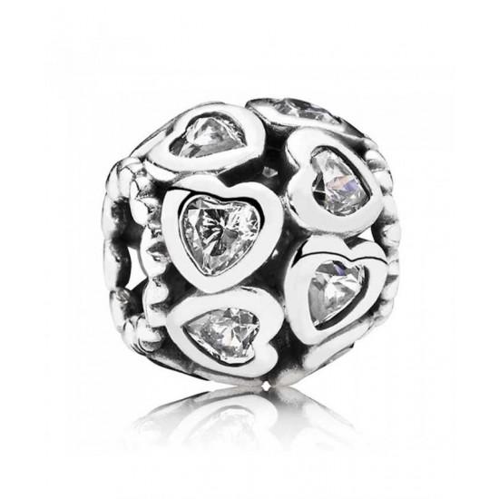 Pandora Charm-Silver Cubic Zirconia Openwork Heart Jewelry