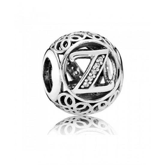 Pandora Charm-Silver Cubic Zirconia Vintage Z Swirl Jewelry