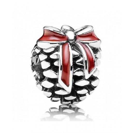 Pandora Charm-Silver Red Enamel Pine Cone Bead Jewelry