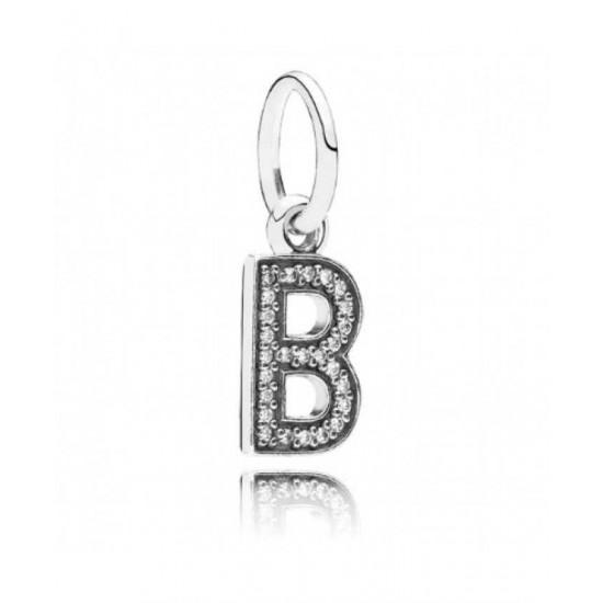 Pandora Charm-Sparkling Alphabet B Pendant Jewelry