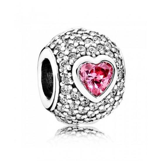 Pandora Charm-Silver Cubic Zirconia Captivating Heart Jewelry