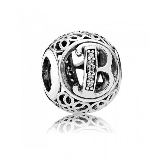 Pandora Charm-Silver Cubic Zirconia Vintage B Swirl Jewelry