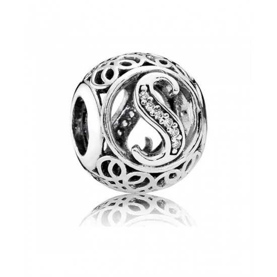 Pandora Charm-Silver Cubic Zirconia Vintage S Swirl Jewelry