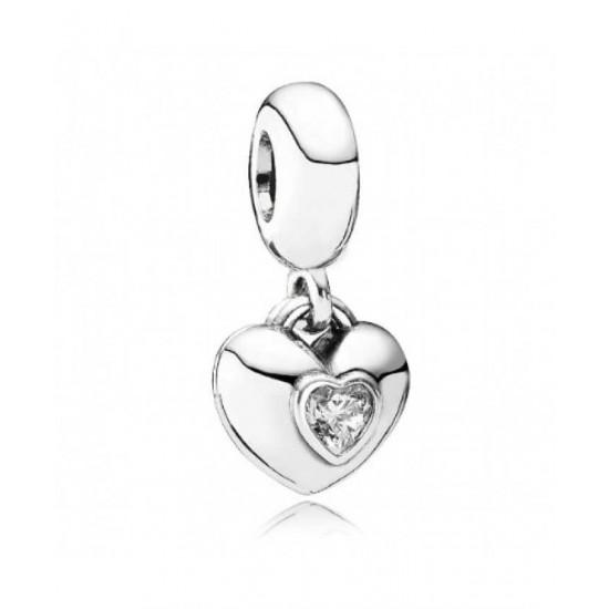 Pandora Charm-Silver Cz Pink Enamel You Me Heart Dropper Jewelry