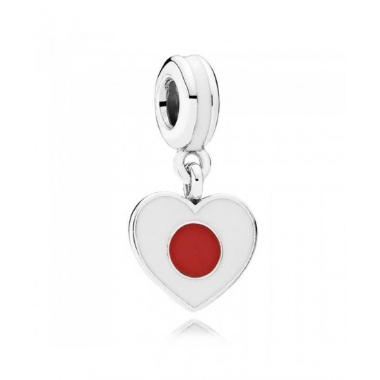 Pandora Charm-Silver Enamel Heart Flag Japan Dropper Jewelry