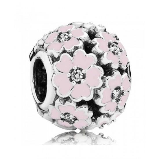 Pandora Charm-Silver Pink Enamel Cubic Zirconia Primroses Jewelry