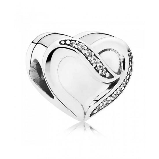 Pandora Charm-Silver Ribbon Of Love Cubic Zirconia Jewelry