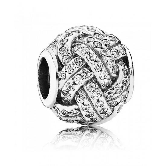 Pandora Charm-Silver Sparkling Love Knot Cubic Zirconia Jewelry
