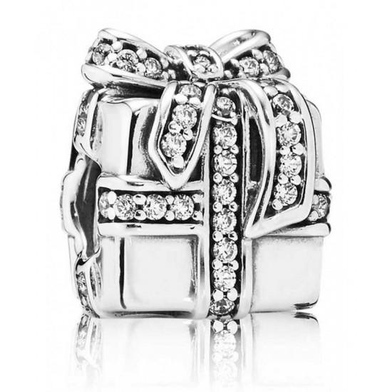Pandora Charm-Silver Sparkling Present Bead Jewelry