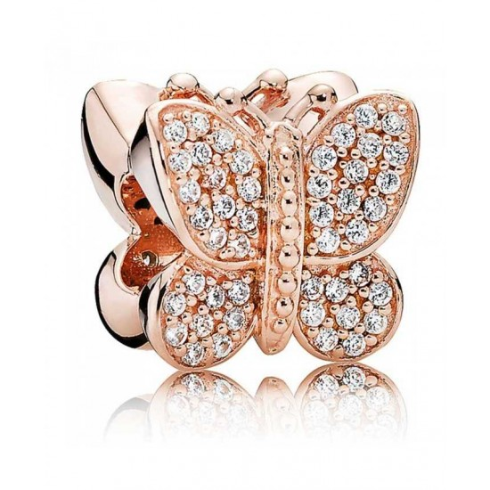 Pandora Charm-Rose Sparkling Butterfly Jewelry Outlet Online
