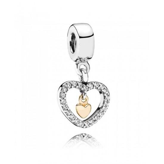 Pandora Charm-Silver 14ct Cubic Zirconia Heart Dropper Jewelry