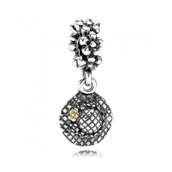 Pandora Charm-Silver 14ct Gold Garden Hat Dropper Jewelry