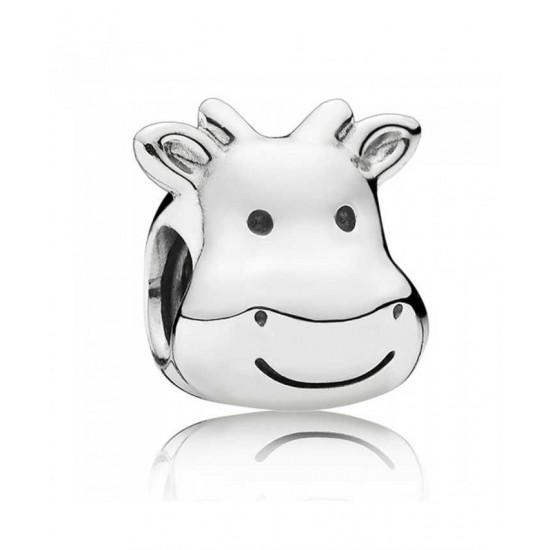 Pandora Charm-Silver Cheerful Cow Jewelry