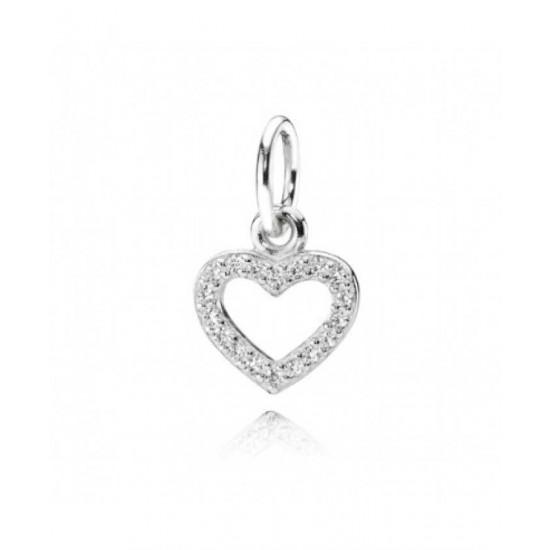 Pandora Charm-Silver Cubic Zirconia Open Heart Pendant Jewelry